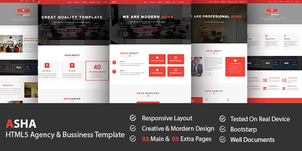 Asha - HTML5 Agency & Business Template - Business Corporate