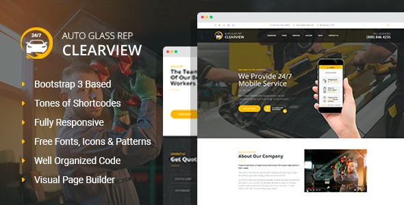 ClearView - Auto Glass Replacement and Window Tinting HTML Template with Visual Builder - Business Corporate