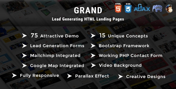 Grand - Lead Generating HTML Landing Pages - Landing Pages Marketing