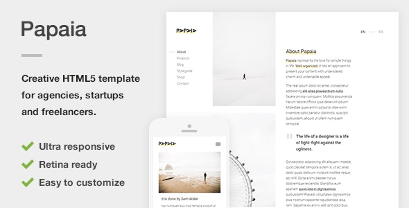 Papaia - Creative HTML5 Site Template for Agencies, Startups & Freelancers - Creative Site Templates