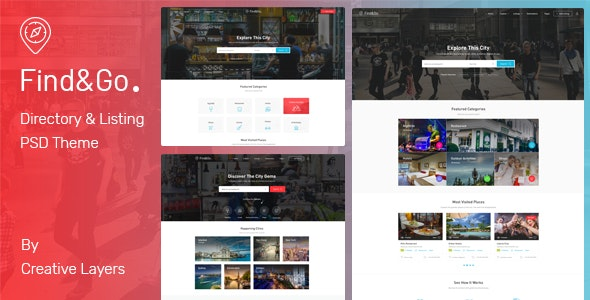 FindGo - Directory & Listing PSD Template - Corporate Photoshop