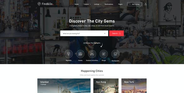 FindGo - Directory & Listing PSD Template