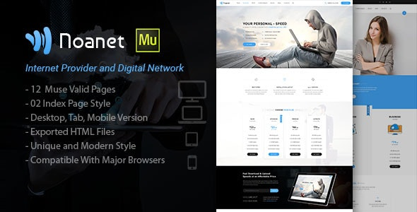 Noanet | Internet Provider and Digital Network Muse Template - Corporate Muse Templates