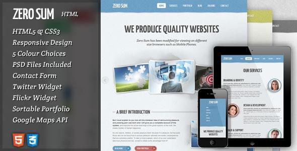 Zero Sum - HTML Responsive Template - Creative Site Templates