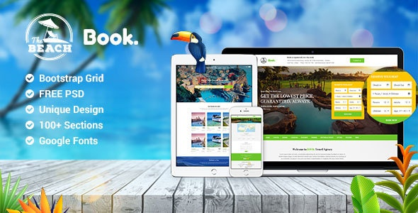 Book Multipurpose Travel Hotel & Resort PSD Template - Travel Retail