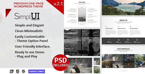 SimplUI - One Page Clean Parallax Responsive WordPress Theme - Creative WordPress