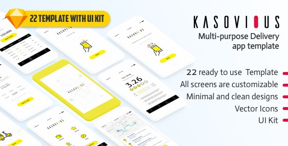 Kasovious iOS delivery app UI kit - 20+ App Screens for Sketch - Business Corporate