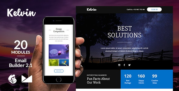 Kelvin Responsive Email Template + Online Emailbuilder 2.1 - Newsletters Email Templates