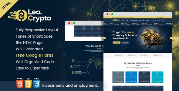 LEO - Bitcoin And Crypto Currency HTML Template - Business Corporate