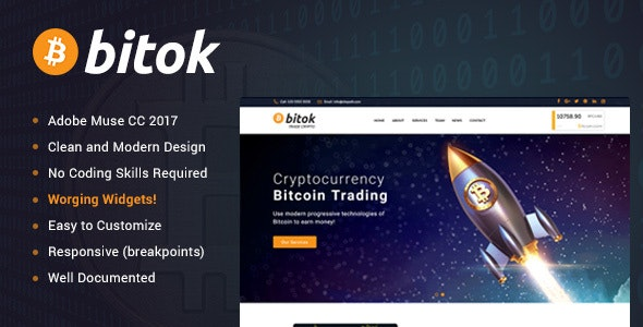 Bitok - Bitcoin Crypto & Digital Currency Muse Template - Muse Templates