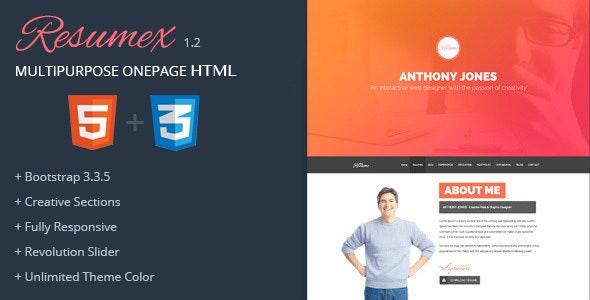 ResumeX Html - Multipurpose One Page Portfolio - Personal Site Templates