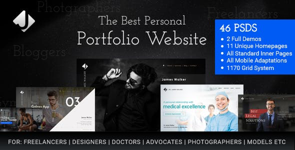 Developer Portfolio Website Templates from ThemeForest