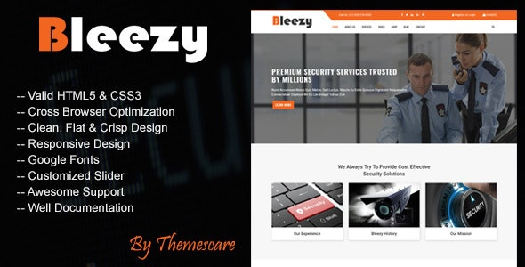 Bleezy - Security Company HTML Template - Business Corporate