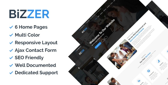 Bizzer - One Page Corporate and Business HTML5 Template - Corporate Site Templates