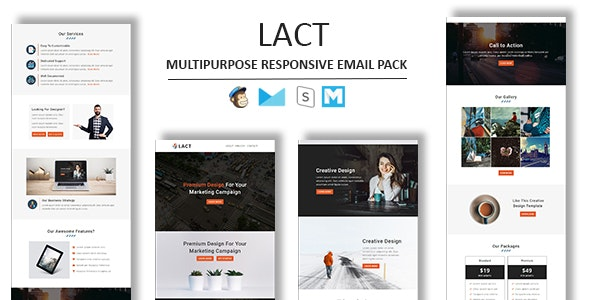 Lact - Multipurpose Responsive Email Template With Stamp Ready Builder Access - Newsletters Email Templates