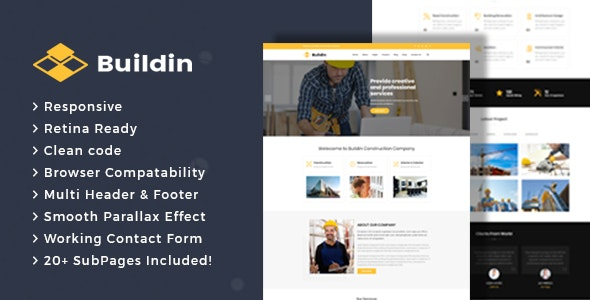 Buildin - Construction Building Company HTML Template - Business Corporate