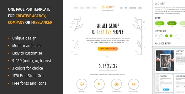 Creatikon   One Page PSD Template for Digital Agency, Creative Company or Freelancer - Photoshop UI Templates