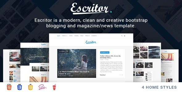 Escritor - Responsive Blogging Magazine News HTML5 Template - Miscellaneous Site Templates