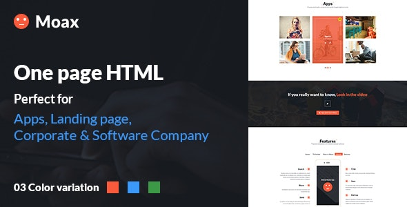 Moax - One Page Multipurpose html for (App, Software & Others) - Technology Site Templates
