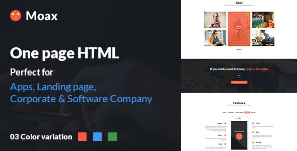 Moax - One Page Multipurpose html for (App, Software & Others)