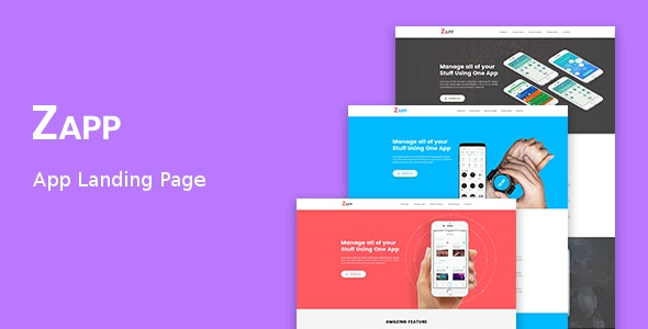 Zapp - App Landing Page - Technology Site Templates