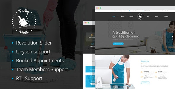 PrettyPress - House Cleaning Service WordPress Theme - Health & Beauty Retail