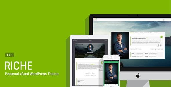 Riche - Personal vCard WordPress Theme - Personal Blog / Magazine