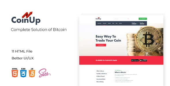 Coinup Compleate Solution of Bitcolin HTML and Sass Template