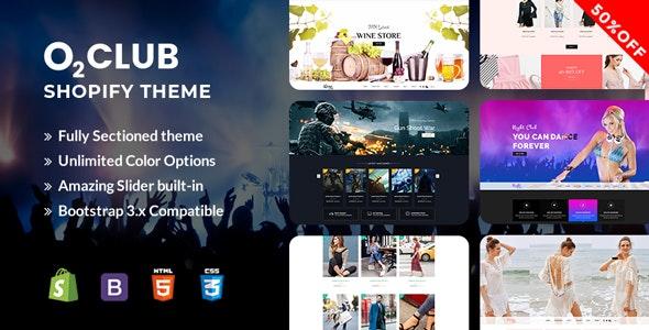 O2 Club Shopify Theme - Entertainment Shopify