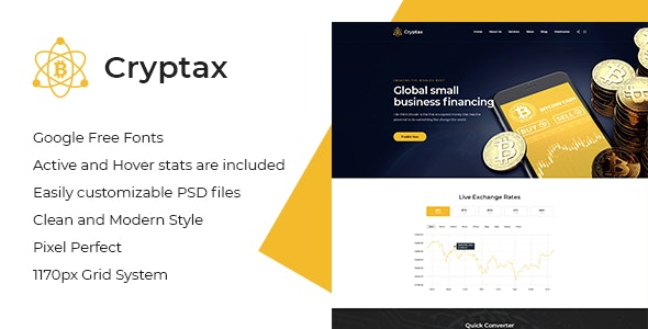 Cryptax - Cryptocurrency PSD Template - Business Corporate