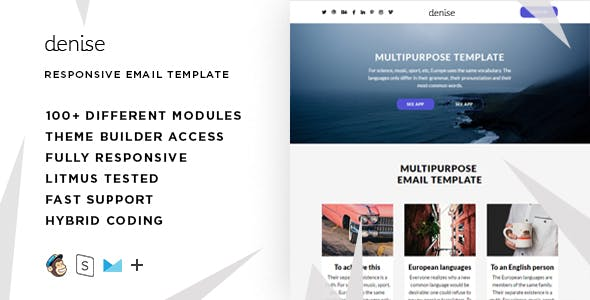 Denise – 100+ Responsive Modules + StampReady, MailChimp & CampaignMonitor compatible files