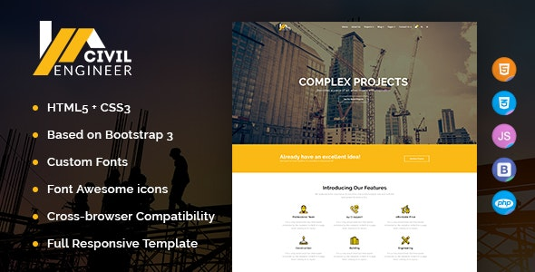 Civil Engineer - Construction Bootstrap Template for Architect - Business Corporate