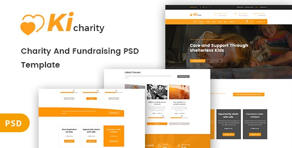 Kicharity - Charity and  Fundraising PSD Template - Nonprofit Photoshop