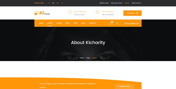 Kicharity - Charity and  Fundraising PSD Template