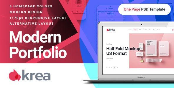 Krea - Modern Portfolio One Page PSD Web Template - Portfolio Creative