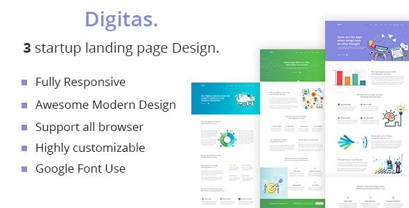 Digitas - startup Business landing page HTML 5 Template. - Business Corporate