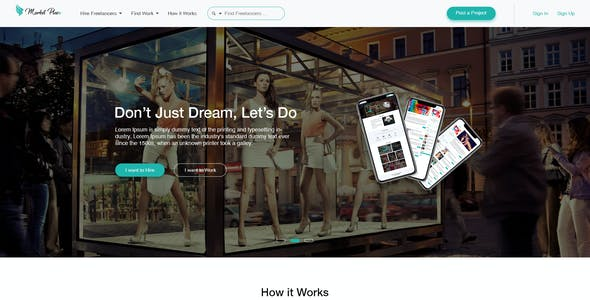 Yes Market Place - Freelance Marketplace PSD Template
