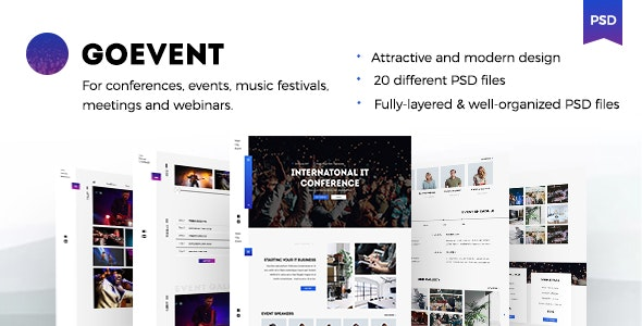 GoEvent – Events & Conference PSD Template - Events Entertainment
