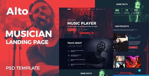 Alto - Musician Landing Page - Entertainment Photoshop