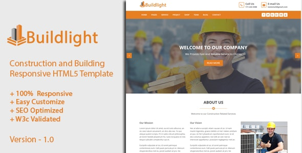 Buildlight is a building, construction, corporate HTML template - Business Corporate
