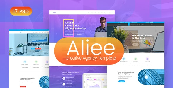 Aliee - Creative Agency PSD Template - Photoshop UI Templates