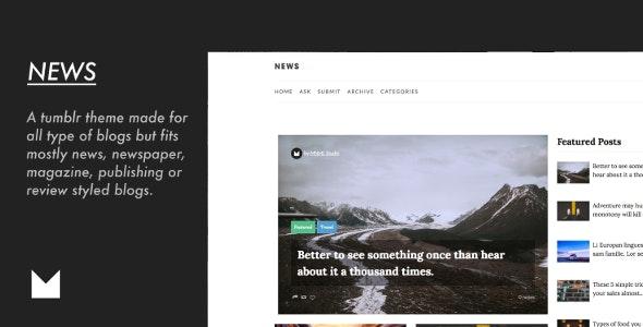 News - Responsive Magazine Theme - Tumblr Blogging
