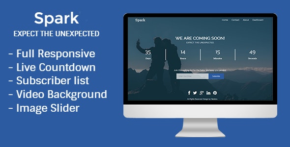 Spark - Responsive HTML5 Coming Soon Template - Under Construction Specialty Pages