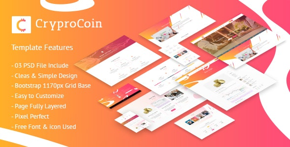 CryptoCoin – Cryptocurrency PSD Template - Marketing Corporate