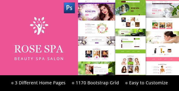 Rose SPA - Beauty SPA Salon PSD Web Template - Business Corporate