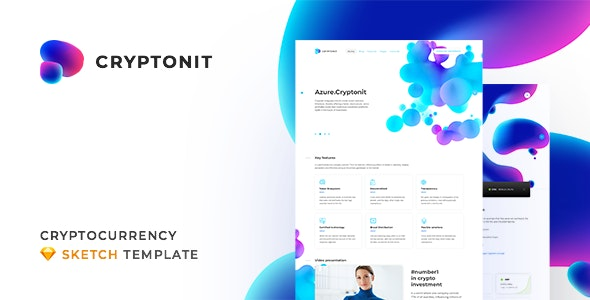 Cryptonit - Digital Currency, ICO, Cryptocurrency Blog and Magazine, Finance Sketch Template - Sketch UI Templates