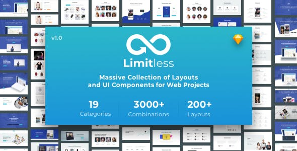 Limitless - Massive set of layouts and UI components for Sketch