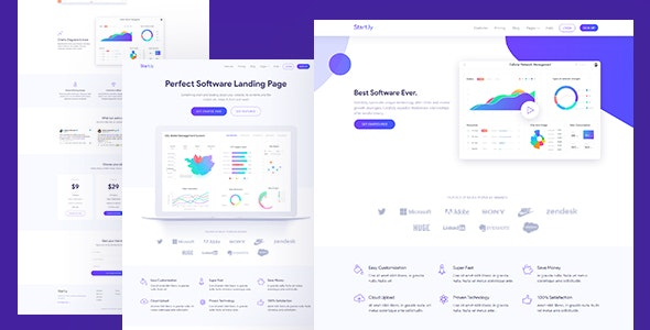 Software & SaaS App Landing Page Template — Startly - Software Technology