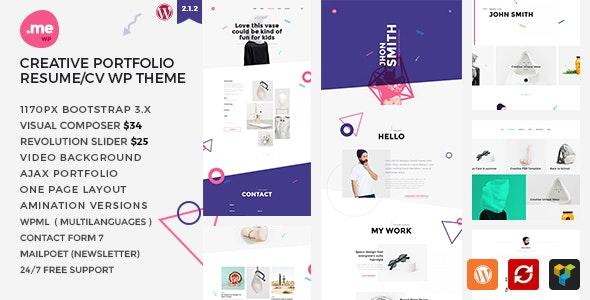 Me - Creative Portfolio & Resume / CV WordPress Theme - Creative WordPress