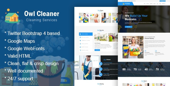 Owl Cleaner -  Cleaning Services HTML Website Template - Business Corporate